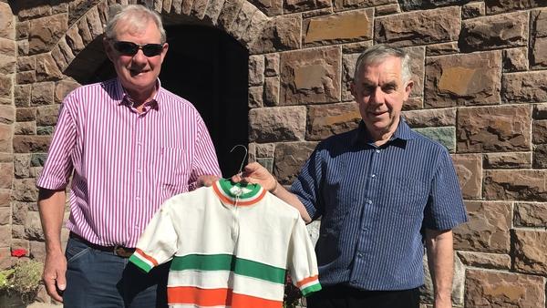 John Mangan and Pat Healy with an NCA jersey
