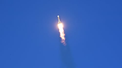 Russia's Soyuz rocket blasting off from Kazakhstan carrying cargo to the International Space Station