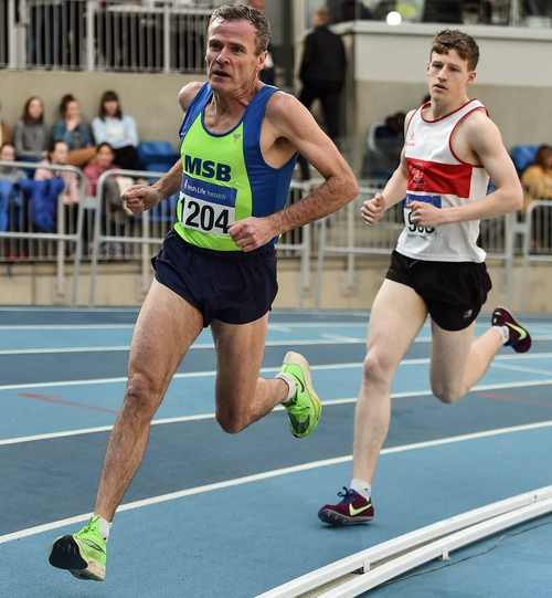 Shane Healy of Metro/St. Brigid's AC, Dublin, left, competing in the Senior Men's 1500m event during Day Two of the Irish Life Health National Senior Indoor Athletics Championships at the National Indoor Arena. Photo credit: Sam Barnes/Getty Images.