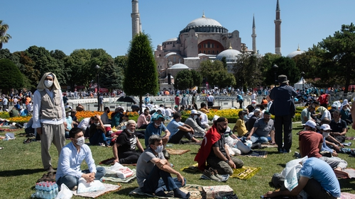 People gather outside the Hagia Sophia for Friday prayers