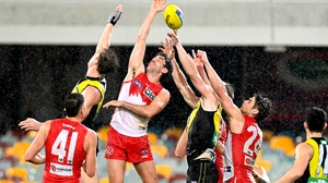 Space was at a premium between Richmond Tigers and the Sydney Swans in the AFL earlier this month