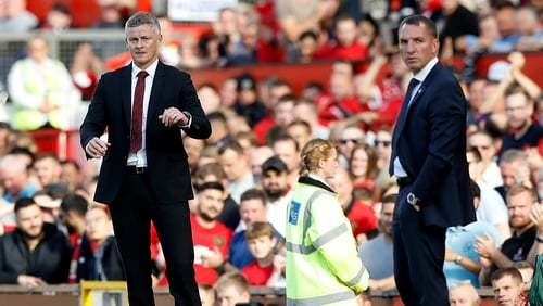 Manchester United manager Ole Gunnar Solskjaer (L) and Leicester City's Brendan Rodgers will face off on Sunday