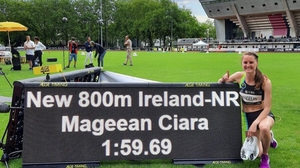 Ciara Mageean celebrates her achievement in Switzerland. Picture credit: Twitter@ciaramageean
