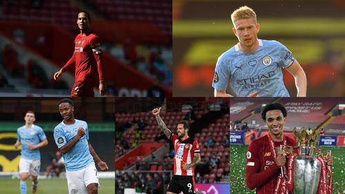 Clockwise from top left: Virgin van Dijk, Kevin De Bruyne, Trent Alexander-Arnold, Danny Ings and Raheem Sterling