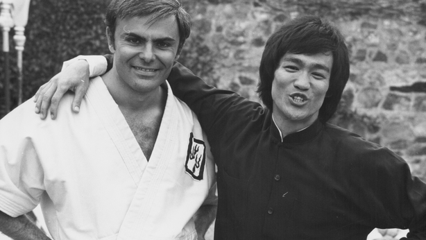 Bruce Lee and John Saxon on the set of the movie Enter the Dragon 1973
