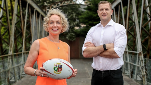 Vodafone Ireland CEO Anne O'Leary and rugby player Jamie Heaslip