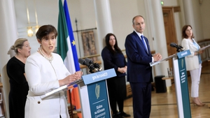 Minister for Education Norma Foley, Taoiseach Micheál Martin and Minister of State for Special Education Josepha Madigan address the media (RollingNews.ie)