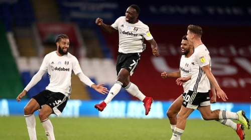 Neeskens Kebano celebrates scoring Fulham's second goal