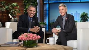 Ellen DeGeneres with former US President Barack Obama