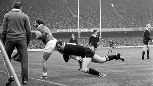 Wales's Clive Rees (L) is tackled by New Zealand's Andy Haden in 1978