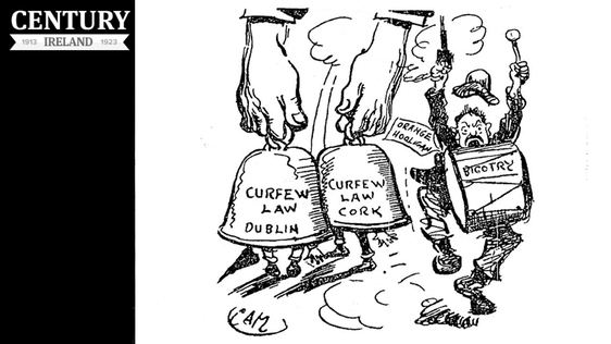 Century Ireland, Issue 184 - Cartoon pointing out that, while curfews have been implemented in Dublin and Cork, the violence in Belfast has not been deemed serious enough to warrant one Photo: Sunday Independent, 1 August 1920