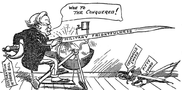 Cartoon depicting the new 'Coercion Act' as instrument of 'military frightfulness' Photo: Sunday Independent, 8 August 1920