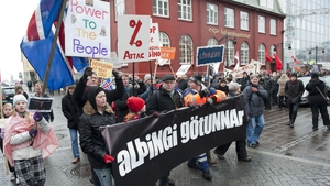 People march in the streets of Reykjavik in March 2010 demanding that government do more to improve conditions in Iceland. Photo: Halldor Kolbeins/AFP via Getty Images