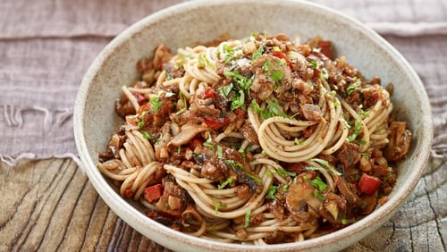 Mushrooms and walnuts are a tasty and a hearty substitute for meat in this plant-based ragu recipe.