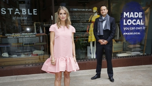 Tánaiste Leo Varadkar and Actor and Author Amy Huberman at launch of Made Local campaign