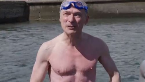 Richard Bruton extols the virtues of sea swimming in the promo video for north Dublin