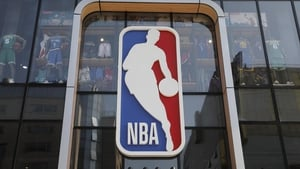 The NBA logo outside a store in Beijing, China