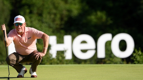 Miguel Angel Jimenez toasts a vintage display at Hero Open