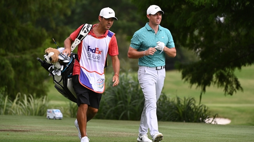 Rory McIlroy was in a share of last place approaching the end of his round in Memphis