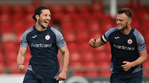 Ronan Coughlan of Sligo Rovers celebrates with team-mate David Cawley after scoring his side's second goal