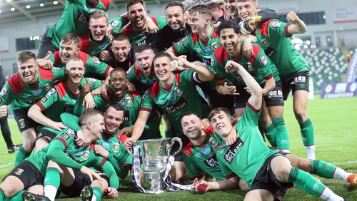 Glentoran celebrate their victory