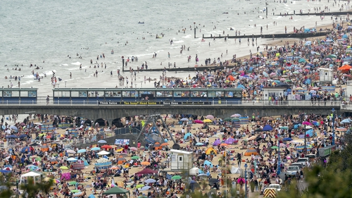 Bournemouth beach in southwest England yesterday