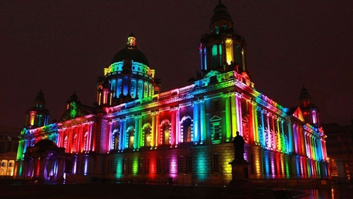 Belfast City Hall is being lit up with rainbow colours for Pride (pic @belfastcc on Twitter)