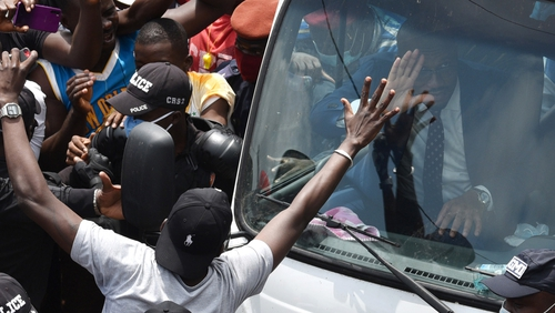 Didier Drogba was mobbed after the submission of his application to become president of the Ivorian Football Federation