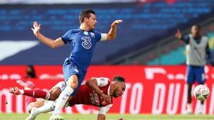 Cesar Azpilicueta fouls Pierre-Emerick Aubameyang in Saturday's final