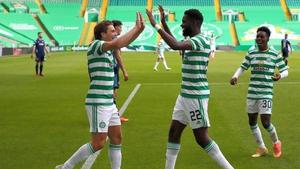 Edouard (r) celebrating his second goal