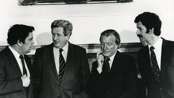John Hume, Garret FitzGerald, Charles Haughey and Dick Spring at the first meeting of the New Ireland Forum in 1983