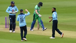 Kevin O'Brien walks off after being dismissed as Adil Rashid celebrates with Eoin Morgan during the Second One Day International between England and Ireland last week