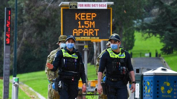 Troops on patrol in Melbourne