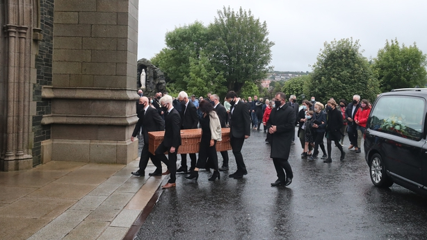 John Hume coffin at St Eugene's Cathedral