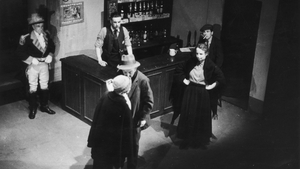 A scene from the Abbey Theatre's 1942 production of Sean O'Casey's The Plough And The Stars featuring FJ Mc Cormick, Joan Plunkett, Austin Meldon, Eric Gorman and others. Photo:Haywood Magee/Picture Post/Hulton Archive/Getty Images