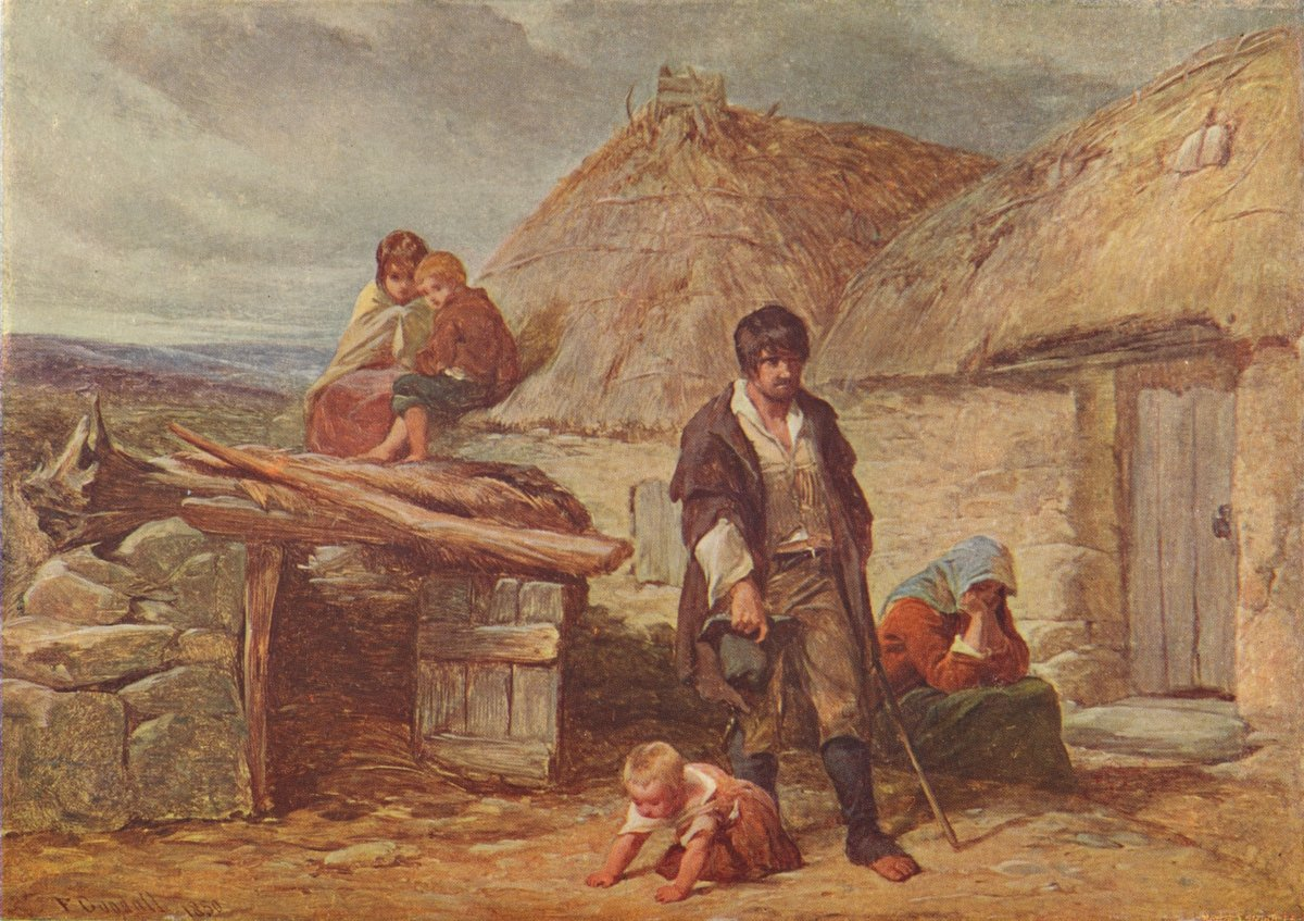 An Irish Eviction', 1850 (1906). From Cassell's Illustrated History of England, Vol. V. (Cassell and Company, Limited, London, Paris, New York & Melbourne, 1906). Artist Frederick Goodall.(Photo by The Print Collector/Getty Images)
