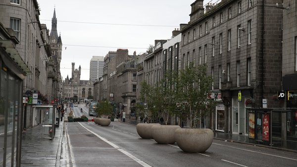 Union Street in Aberdeen after bars, cafes and restaurants have been ordered to close