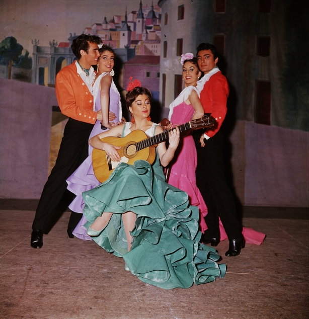 Dancers from Pilar Lopez's dance troupe perform the Flamenco to the Spanish guitar at a cabaret. (Photo by Paul Almasy/Corbis/VCG via Getty Images)
