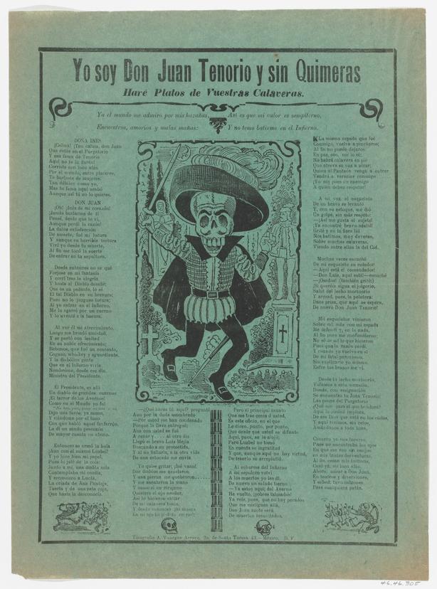 The skeleton of Don Juan Tenorio, circa 1900-1910. Artist José Guadalupe Posada. (Photo by Heritage Art/Heritage Images via Getty Images)