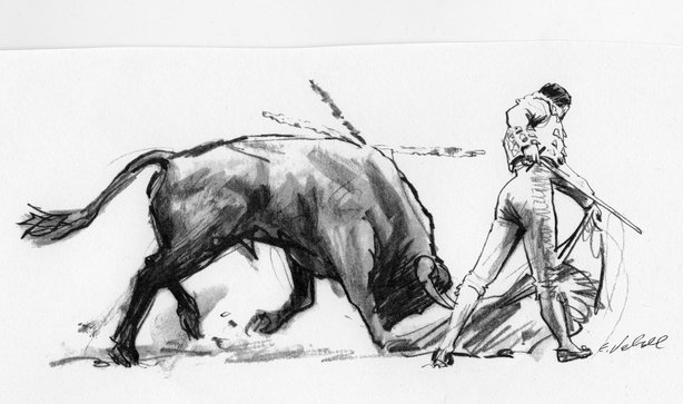 SPAIN - CIRCA 1950: A drawing depicting Matador (bullfighter) and bull durin a Bullfight circa 1950 in Spain. (Illustration by Ed Vebell/Getty Images)