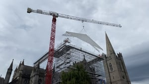 A temporary roof is installed at St Patrick's Cathedral