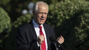 Peter Navarro was speaking to reporters ahead of an announcement by Mr Trump on bringing pharmaceutical manufacturing back to the US (file pic)