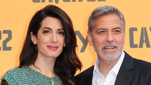 George Clooney and his wife, Lebanese lawyer Amal Clooney, attend the premiere of the Sky TV series Catch-22 in Rome in May 2019