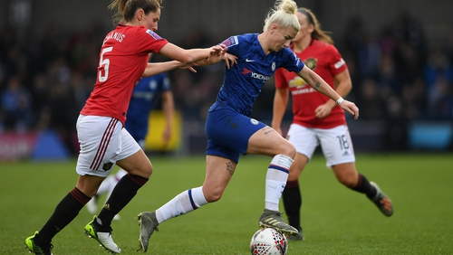 Chelsea's Bethany England is challenged by Abbie McManus of Manchester United during the Women's Super League match between the two sides at Kingsmeadow last season