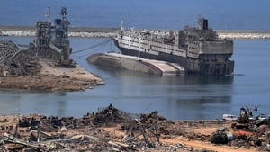 Damaged vessels in the harbour of the devastated port of Beirut