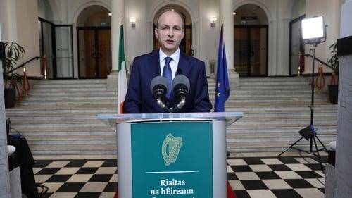 An Taoiseach Micheál Martin ag labhairt ag Tithe an Rialtais tráthnóna