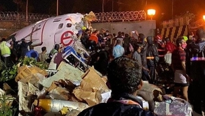 Pictures from the scene show part of the fuselage of the jet ripped apart