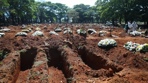 Graves of Covid-19 victims at the  the Vila Formosa cemetery, in Sao Paulo