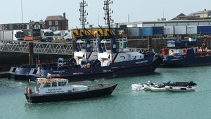 A Dover Pilot Harbour Patrol boat taking dingys out to sea