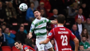 Ronan Finn of Shamrock Rovers in action against Ciarán Coll of Derry City